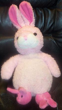 Pink & White Rabbit Upright Ears Darker Velour Bunny Slippers