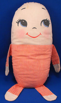 70′s Plakie Toy Humpty Dumpty Blue White Stripe Pillow