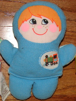 , FOUND – 80's Playskool BLUE DOLL with TRAIN on CHEST