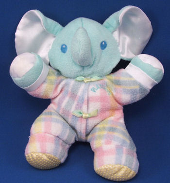 Playskool Snuzzles Blue Elephant Wearing Plaid Fleece Sleeper
