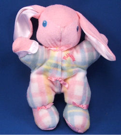 Playskool Plaid Fleece Snuzzles Pink Rabbit