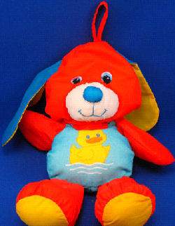 Playskool Puffalump Type Waterpets Bathtub Toy Red Dog with Blue Ears Wearing a Blue Tank Swimsuit