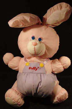 , FOUND – 90's Puffalump Style PINK RABBIT with PURPLE OVERALLS & YELLOW BUTTONS