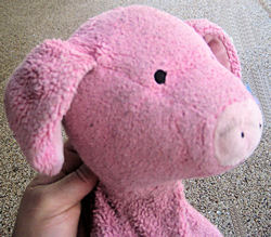 , FOUND – GUND Pottery Barn PINK PIG with STITCHING on HANDS & FEET