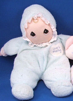 1998 Precious Moments Blond Love Is Sharing Blue Doll with Bonnet