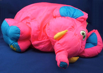 , FOUND – 90's Fisher Price PUFFALUMP BIG THINGS XL HOT PINK & TEAL ELEPHANT