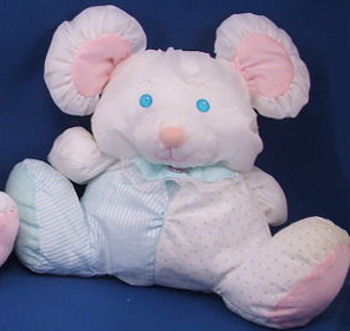 Fisher Price Puffalump Mouse with Blue Stripes and Polka Dots Wearing a Lace Trimmed Bib
