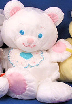 Fisher Price Puffalump White Bear Wearing a Bib with Blue Heart