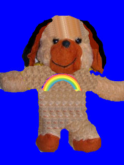 , Searching – 80's Seated Brown Floppy Eared PUPPY Dog with RAINBOW PATCH
