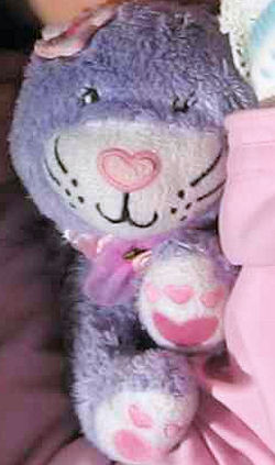 Purple Chenille Cat with Heart Shaped Nose