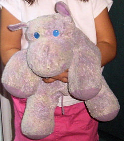 Purple Hippo with Embroidered Blue Eyes