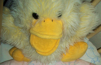 Large Pastel Yellow Chenille Duck Puppet that Quacks Old McDonald