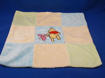 Quilted Aqua, Green, and Cream Velour Blankie with Winnie the Pooh and Piglet Embroidered in Center