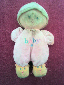 Rainbow Designs pink doll with hat BABY embroidered