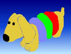, FOUND – YELLOW PUPPY DOG with Red – Green – Blue STUFFED RINGS (the dog ate it)