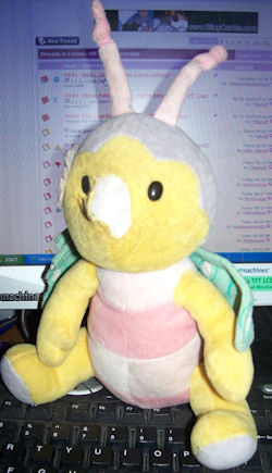 2006 Large Yellow RUSS Bug with Pink & White Stripes & Green Print Wings
