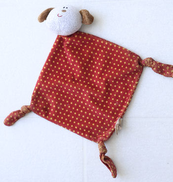 RUSS Bright Beginnings Small Dog Red & Yellow Polka Dot Knotted Blankie