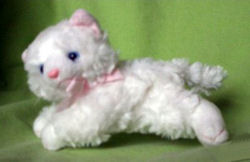 RUSS Cheshire Tabby Small White Cat with a Pink Bow