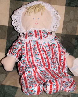 RUSS Doll Wearing Red Stripe Lanz of Salzburg Flannel