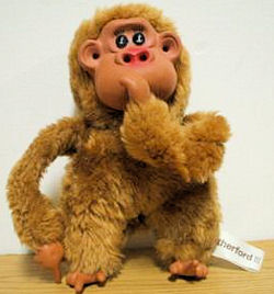, FOUND – 80's Cracker Barrel RUTHERFORD III TAN Thumb Sucking MONKEY