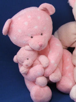 RUSS Baby Tickles White Polka Dotted Pink Mama & Baby Bear that Plays Brahms' Lullaby