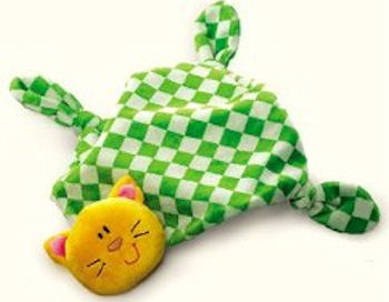 Russ Comfy Kitty Yellow & Green Checkerboard Blankie