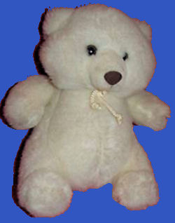 Scarborough Collection white bear with a rattle