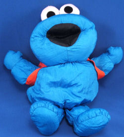 TYCO Large Puffalump COOKIE MONSTER with RED BACKPACK Eats