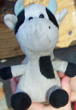 Target Shanghai Toy Small White Cow with Black Spots & Blue Horns