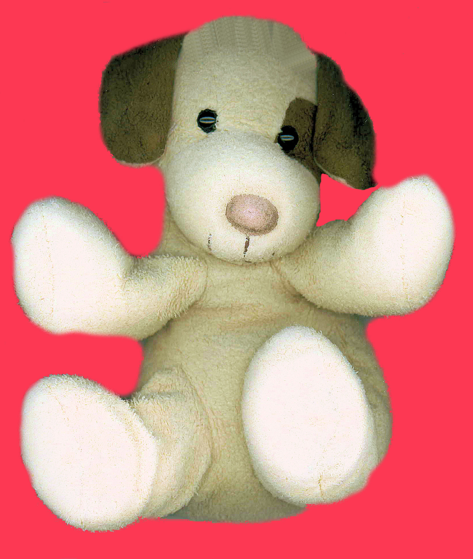 Skeeter NOT TY Cream Stuffed Dog with  BROWN EARS  & SPOT on BACK