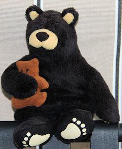 Small Brown Bear Holding Tan Baby Bear