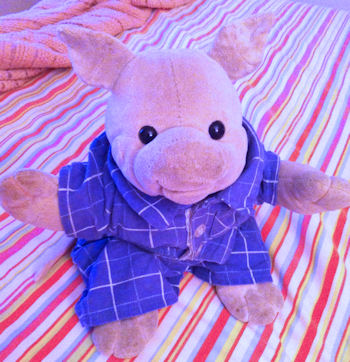 Oinking pink velour stuffed pig