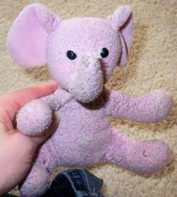 , Searching – 2008 SMALL Seated PINK ELEPHANT RATTLE with OUTSTRETCHED ARMS & LEGS