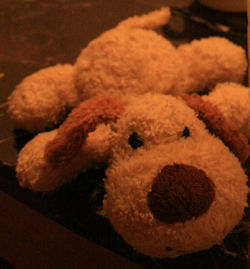 Small Tan Chenille Lying Down Dog With Brown Ears & Nose
