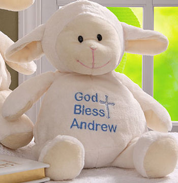 , Searching – PLUSH SMOOTH WHITE LAMB with BLUE CROSS