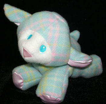 80's Playskool Blue Plaid Snuzzles Lamb