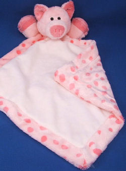 Soft Classics Hot Pink Pig Blankie with Minky Dots