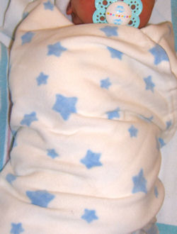 Lullaby Club? White Baby Receiving Blanket with Blue Stars