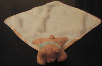 Stephan Baby Brown Bear Blankie Wearing a Pink or Blue Shirt