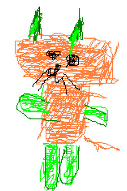 Sugarloaf Orange Cat with Green Ears, Arms & Legs