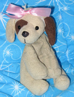 , Searching – SMALL 4 inch TAN DOG with BROWN EYE & EAR