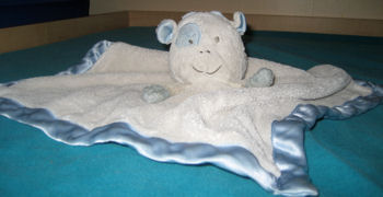 White Cow Blankie with Blue Eye Patch, Ears, Horns, Satin Binding