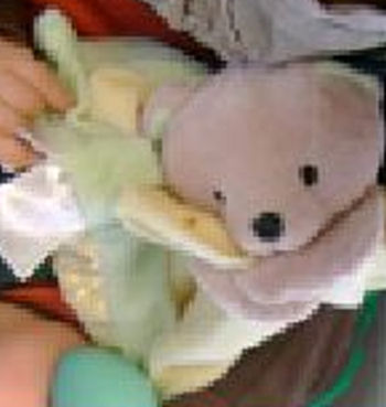 Carter's Cute as a Bee Tan Bear Head & Arms Holding Yellow & Green Blankie