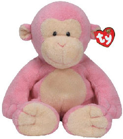 TY PLUFFIES Pink Terry Monkey DANGLES White Face, Ears, Tummy, Feet