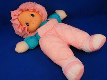 Uneeda Puffalump Blond Doll Pink Jumper Bonnet Turquoise Shirt