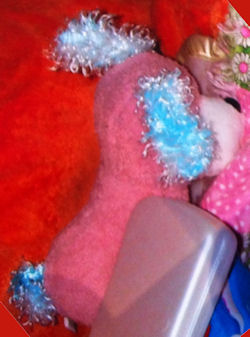 Vending Machine Pink Seated Dog with Blue Curly Ears & Tail