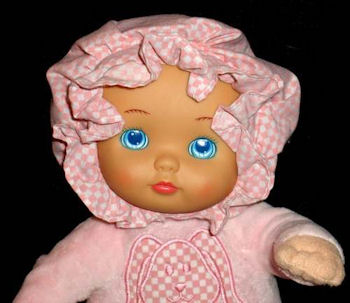 , FOUND – 90's Vinyl Plastic Face Doll with Pink Gingham Prairie Bonnet