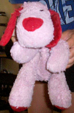 Walgreen's Valentines Pink Dog with Red Ears, Nose & Bow with Red I Love You Bone on Paws