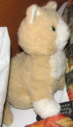 80's Walmart 9 inch Beige and White Cat with Cat Pupil Eyes