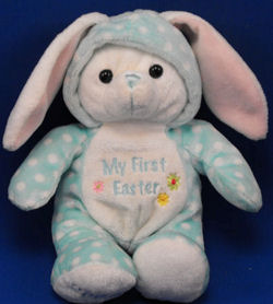 2008 Walmart Blue Polka Dot My First Easter Rabbit Wearing a Hood